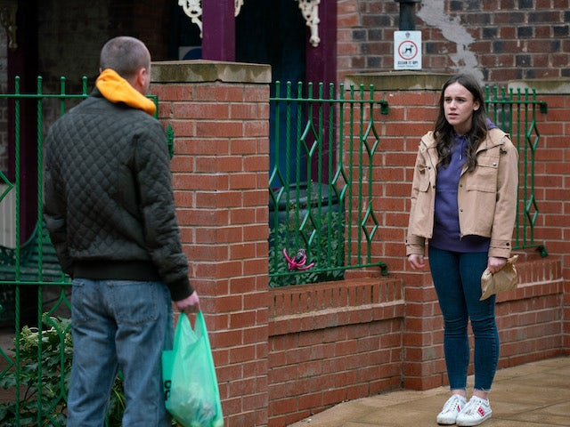 Kirk and Faye on the first episode of Coronation Street on April 19, 2021