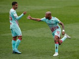 Swansea City's Andre Ayew celebrates scoring their first goal  against Millwall in the Championship on April 10, 2021