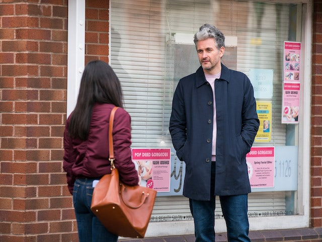 Lucas and Alina on the first episode of Coronation Street on April 19, 2021