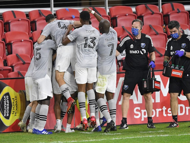 Montreal Impact celebrate the team's winning goal against the D.C. United in the second half at Audi Field in November 2020