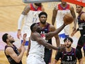 New Orleans Pelicans forward Zion Williamson attempts a shot in the third quarter against the Philadelphia 76ers on April 10, 2021