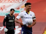 Aston Villa's Ollie Watkins celebrates scoring their first goal against Liverpool on April 10, 2021
