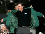 Phil Mickelson celebrates winning the Masters in 2006