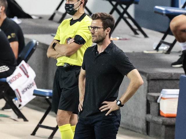 Chicago Fire head coach Raphael Wicky looks on during the first half against the New York City at Red Bull Arena in August 2020