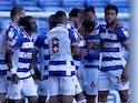 Reading's Michael Olise celebrates with his teamates after he scores their first goal against Derby County in the Championship on April 5, 2021