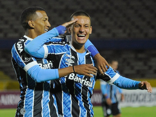 Gremio's Ricardinho celebrates scoring their second goal on March 17, 2021