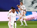 Real Madrid's Toni Kroos celebrates scoring their second goal against Barcelona in La Liga in April 10, 2021
