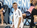 New York City head coach Ronny Deila reacts during the second half against the Chicago Fire at Red Bull Arena in August 2020