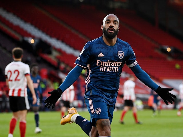Arsenal's Alexandre Lacazette celebrates scoring against Sheffield United in the Premier League on April 11, 2021