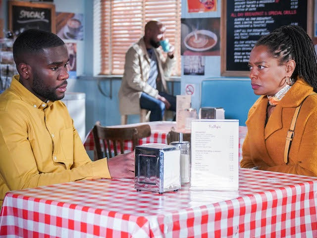 Isaac and Sheree on EastEnders on April 22, 2021