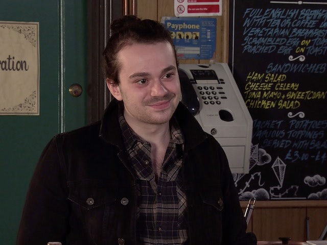Seb on the second episode of Coronation Street on April 21, 2021