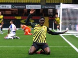 Watford's Ismaila Sarr celebrates scoring their second goal against Reading in the Championship on April 9, 2021