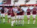 West Ham United's Jesse Lingard celebrates scoring against Leicester City in the Premier League on April 11, 2021