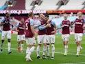 West Ham United's Jesse Lingard celebrates scoring against Leicester City in the Premier League on April 11, 2021