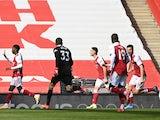 Arsenal's Eddie Nketiah celebrates scoring against Fulham in the Premier League on April 18, 2021