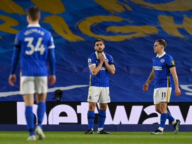 Brighton & Hove Albion's Neal Maupay reacts against Everton in the Premier League on April 12, 2021