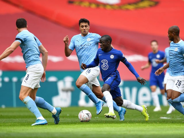 Manchester City's Rodri in action with Chelsea's N'Golo Kante in the FA Cup on April 17, 2021
