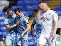 Coventry City's Dominic Hyam celebrates scoring against Barnsley in the Championship on April 18, 2021