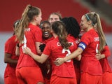 Canada's Nichelle Prince celebrates scoring their second goal against England on April 13, 2021