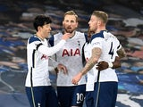 Tottenham Hotspur's Harry Kane celebrates scoring their first goal  against Everton in the Premier League on April 16, 2021