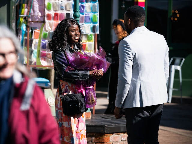 Mila and a mystery man on EastEnders on April 26, 2021