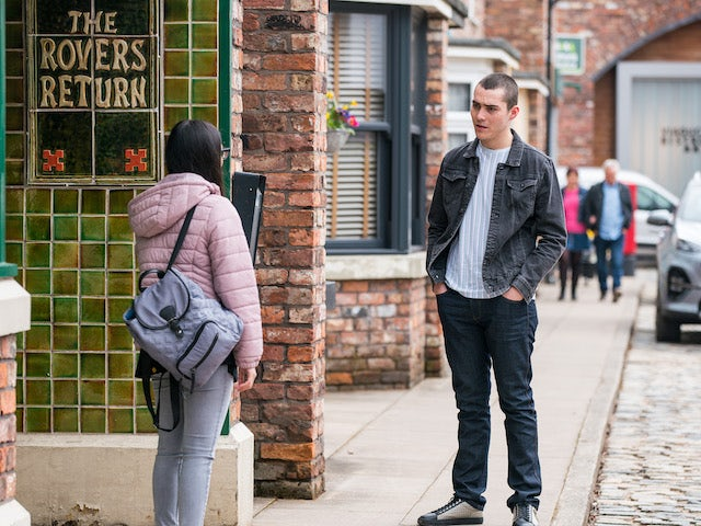 Corey on the second episode of Coronation Street on April 26, 2021