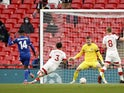 Leicester City's Kelechi Iheanacho scores against Southampton in the FA Cup on April 18, 2021