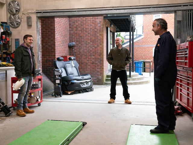Tyrone, Tim and Kevin on the first episode of Coronation Street on April 28, 2021