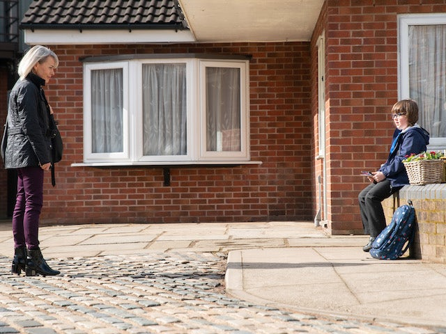 Sharon and Sam on the first episode of Coronation Street on April 30, 2021