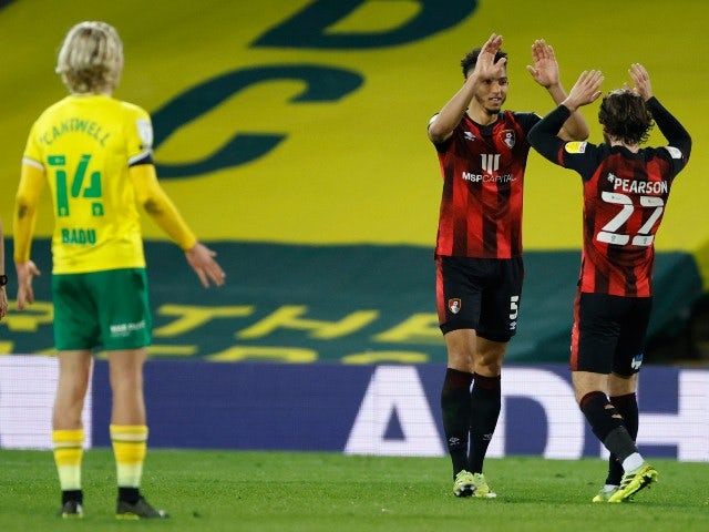 AFC Bournemouth's Lloyd Kelly celebrates after scoring their third goal against Norwich City in the Championship on April 17, 2021