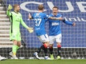 Rangers midfielder Steven Davis celebrates scoring against Celtic on April 18, 2021