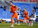 Cardiff City's Kieffer Moore celebrates scoring their first goal against Reading in the Championship on April 16, 2021
