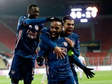 Arsenal's Alexandre Lacazette celebrates scoring against Slavia Prague in the Europa League on April 15, 2021
