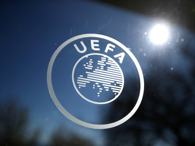 General view of the UEFA logo at UEFA Headquarters before the draw in February 2020