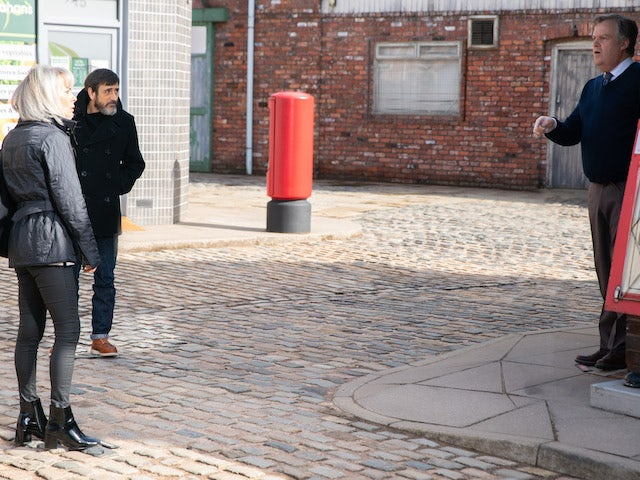 Peter, Sharon and Brian on the first episode of Coronation Street on April 26, 2021