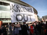 Arsenal supporters protest against KSE before their Premier League clash with Everton on April 23, 2021