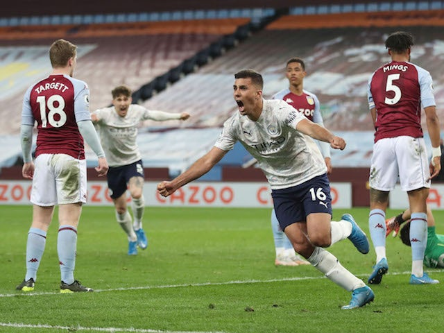 Result: Aston Villa 1-2 Man City: Citizens edge closer to title