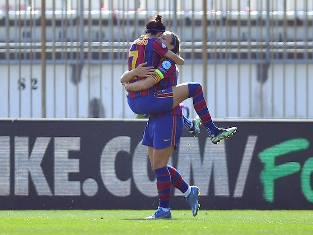 Barcelona Women celebrate on March 24, 2021