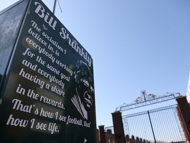 A quote from Bill Shankly pictured outside Anfield after the Super League announcement