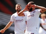 Brentford's Bryan Mbeumo celebrates scoring their first goal against Bournemouth in the Championship on April 24, 2021