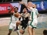 Brooklyn Nets forward Mike James drives to the basket against Boston Celtics on April 24, 2021