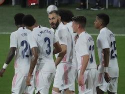 Real Madrid's Karim Benzema celebrates scoring against Cadiz in La Liga on April 21, 2021
