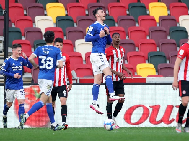 Cardiff City's Kieffer Moore celebrates scoring their first goal from the penalty spot against Brentford in the Championship on April 20, 2021
