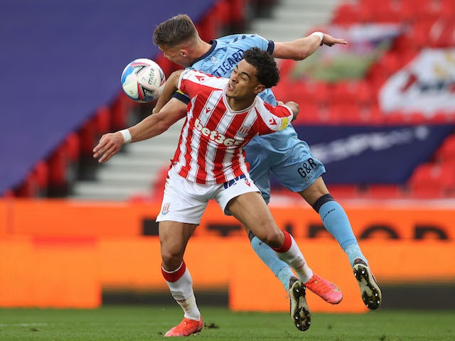 Stoke City's Jacob Brown in action against Coventry City in the Championship on April 21, 2021
