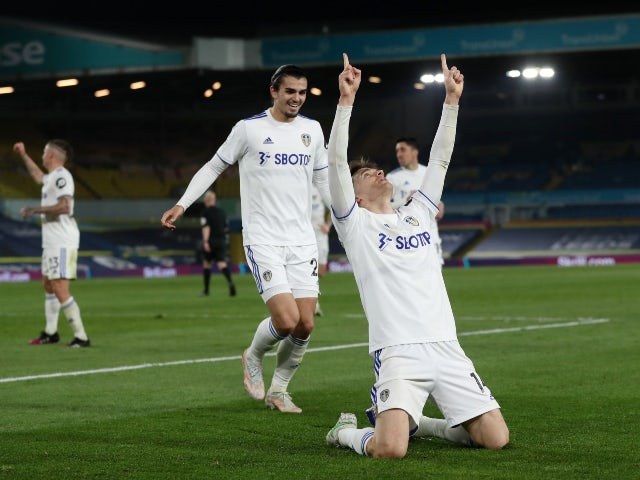 Leeds United's Diego Llorente celebrates scoring their first goal against Liverpool in the Premier League on April 19, 2021