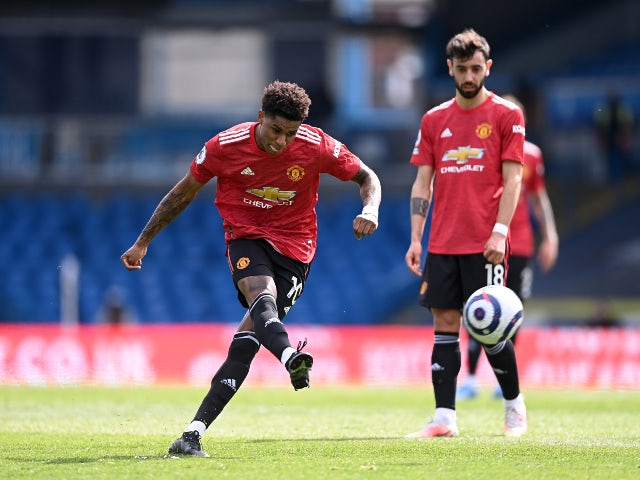 Marcus Rashford takes a free kick for Manchester United against Leeds United in the Premier League on April 25, 2021