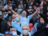 Manchester City fans inside the stadium before the EFL Cup final with Tottenham Hotspur on April 25, 2021