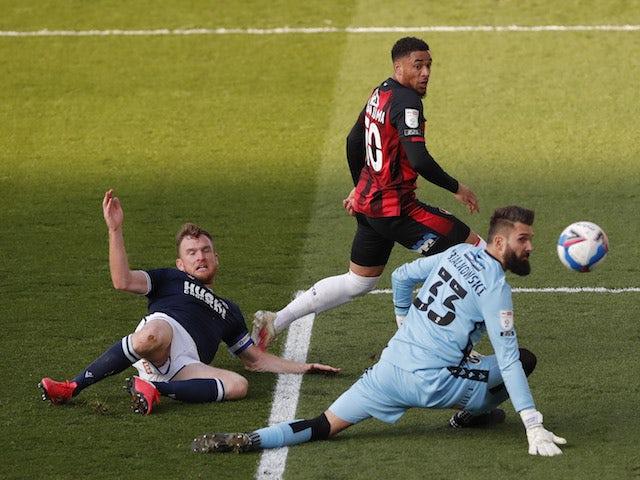 Bournemouth's Arnaut Danjuma scores against Millwall in the Championship on April 21, 2021