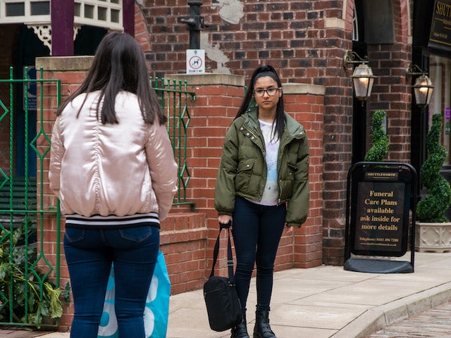 Asha on the first episode of Coronation Street on May 5, 2021