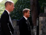 Prince Harry and Prince William at the funeral of their grandfather Prince Philip on April 17, 2021
